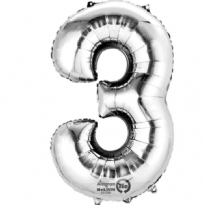 "Silver Number 3 Mini-Foil Balloon (16"" Air) 